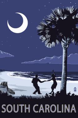 South Carolina - Palmetto Moon with Beach Dancers by Lantern Press