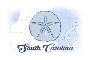South Carolina - Sand Dollar - Blue - Coastal Icon by Lantern Press