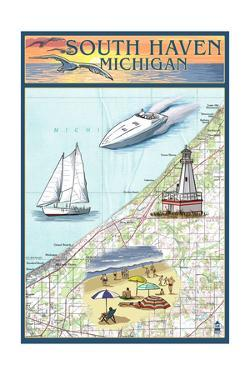 South Haven, Michigan - Nautical Chart by Lantern Press