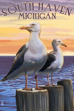 South Haven, Michigan - Seagulls by Lantern Press