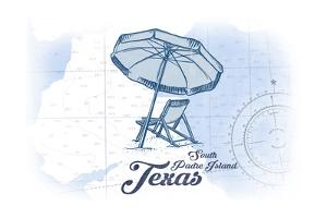 South Padre Island, Texas - Beach Chair and Umbrella - Blue - Coastal Icon by Lantern Press