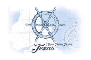 South Padre Island, Texas - Ship Wheel - Blue - Coastal Icon by Lantern Press