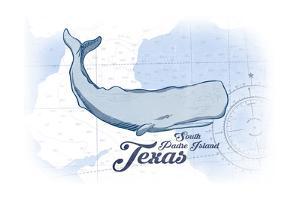 South Padre Island, Texas - Whale - Blue - Coastal Icon by Lantern Press