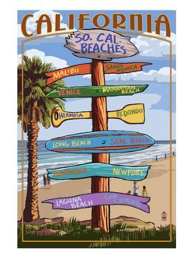 Southern California Beaches - Destination Sign by Lantern Press