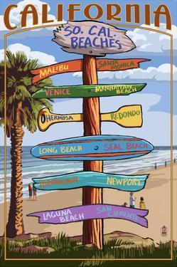Southern California Beaches - Destination Sign by Lantern Press