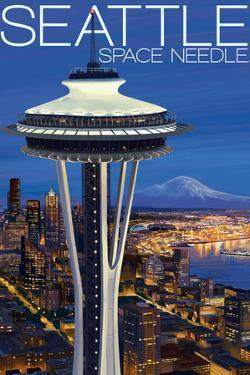 Space Needle Aerial View - Seattle, WA by Lantern Press
