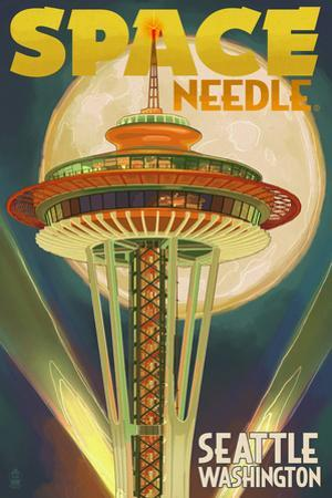 Space Needle and Full Moon - Seattle, WA by Lantern Press