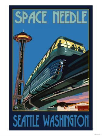 Space Needle and Monorail, Seattle, Washington by Lantern Press