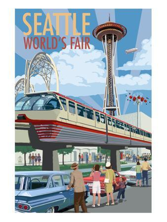 Space Needle Opening Day Scene - Seattle, WA by Lantern Press