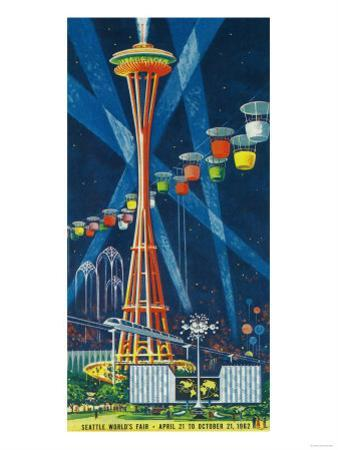 Space Needle Worlds Fair Poster - Seattle, WA by Lantern Press