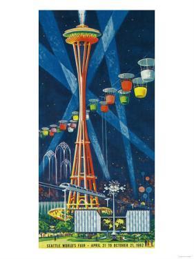 Space Needle Worlds Fair Poster - Seattle, WA by Lantern Press