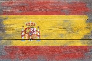 Spain Country Flag - Barnwood Painting by Lantern Press