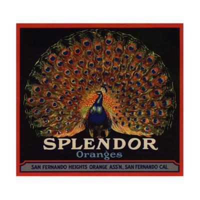 Splendor Brand - San Fernando, California - Citrus Crate Label by Lantern Press