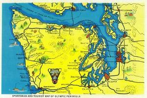 Sportsman and Tourist Map, Olympic Peninsula - Olympic National Park by Lantern Press