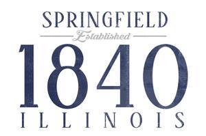 Springfield, Illinois - Established Date (Blue) by Lantern Press