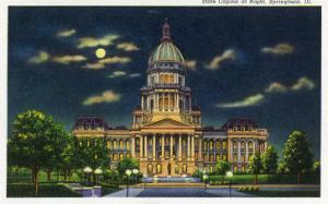 Springfield, Illinois, Exterior View of the State Capitol Building at Night by Lantern Press