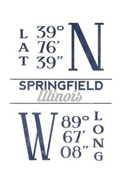 Springfield, Illinois - Latitude and Longitude (Blue) by Lantern Press