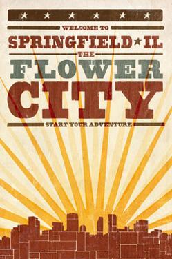 Springfield, Illinois - Skyline and Sunburst Screenprint Style by Lantern Press