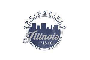Springfield, Illinois - Skyline Seal (Blue) by Lantern Press
