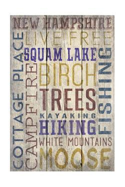 Squam Lake, New Hampshire - Barnwood Typography by Lantern Press