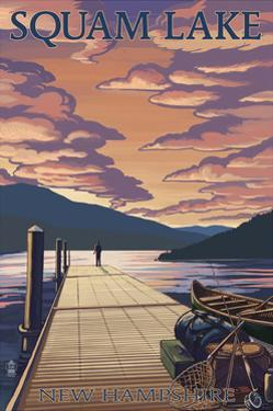 Squam Lake, New Hampshire - Dock and Sunset by Lantern Press