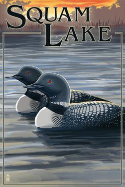 Squam Lake, New Hampshire - Loon Scene by Lantern Press