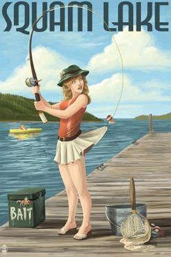 Squam Lake, New Hampshire - Pinup Girl Fishing by Lantern Press