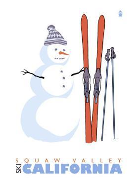 Squaw Valley, California, Snowman with Skis by Lantern Press