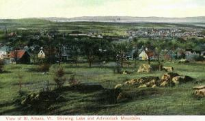 St. Albans, Vermont, View of Town, Lake, and Adirondack Mountains by Lantern Press