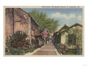 St. Augustine, FL - Aviles St. in Old Spanish Quarter by Lantern Press
