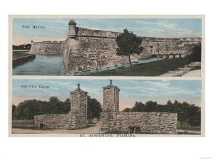 St. Augustine, FL - View of Ft. Marion & City Gates by Lantern Press