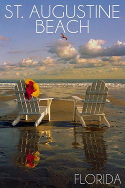 St. Augustine, Florida - Adirondack Chairs on the Beach by Lantern Press