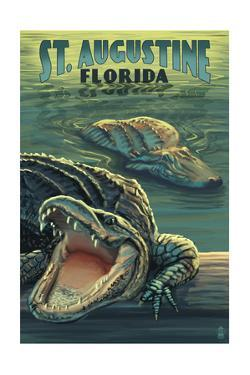 St. Augustine, Florida - Alligator Scene by Lantern Press
