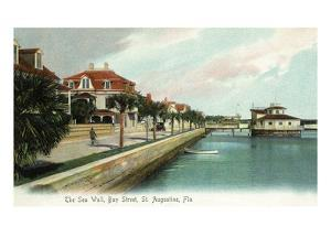 St. Augustine, Florida - Bay Street View of the Sea Wall by Lantern Press