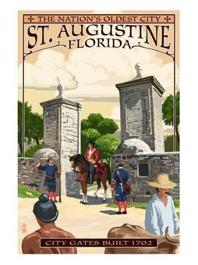 St. Augustine, Florida - City Gates by Lantern Press