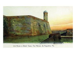 St. Augustine, Florida - Fort Marion Mortar and Watchtower by Lantern Press