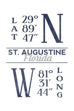 St. Augustine, Florida - Latitude and Longitude (Blue) by Lantern Press