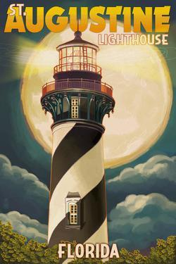 St. Augustine, Florida - Lighthouse and Moon by Lantern Press
