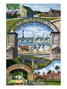 St. Augustine, Florida - Montage Scenes by Lantern Press