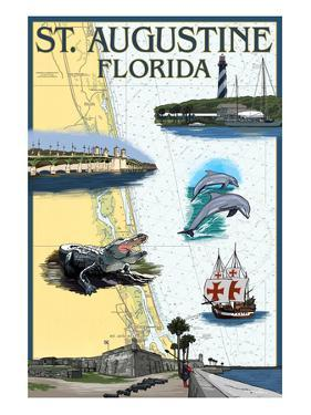 St. Augustine, Florida - Nautical Chart by Lantern Press