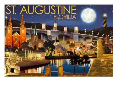 St. Augustine, Florida - Night Scene by Lantern Press