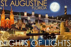 St. Augustine, Florida - Nights of Lights - Night Scene by Lantern Press