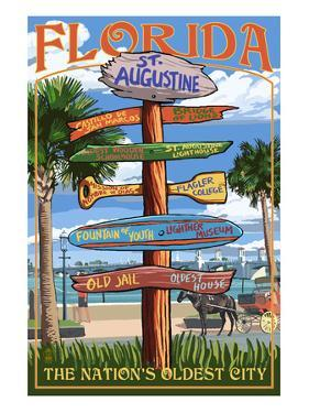 St. Augustine, Florida - Sign Destinations by Lantern Press