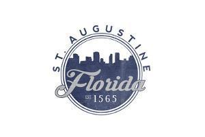 St. Augustine, Florida - Skyline Seal (Blue) by Lantern Press