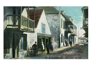 St. Augustine, Florida - View Down Charlotte Street by Lantern Press