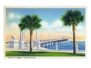 St. Augustine, Florida, View of the Bridge of Lions by Lantern Press