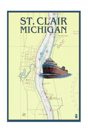 St. Clair, Michigan - Nautical Chart by Lantern Press