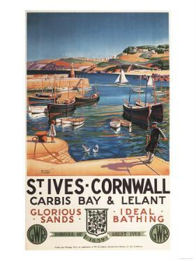 St. Ives, England - Harbor Scene with Girl and Gulls Railway Poster by Lantern Press