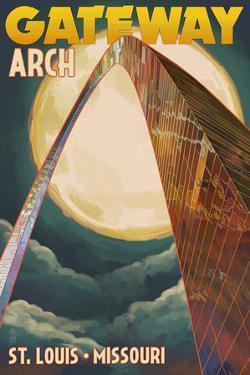 St. Louis, Missouri - Gateway Arch and Moon by Lantern Press