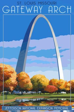 St. Louis, Missouri - Gateway Arch in Fall by Lantern Press